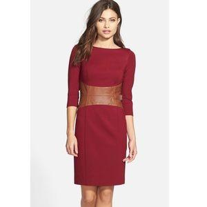 Faux Leather Waist Ponte Sheath Dress